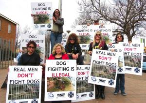 dog fighting protest